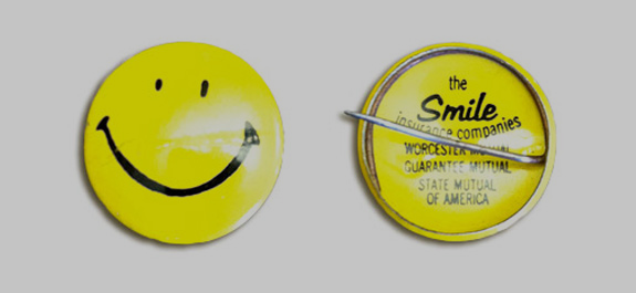 Harvey Ball's smiley pin for The State Mutual Life Assurance Company (image: The Smiley Company)